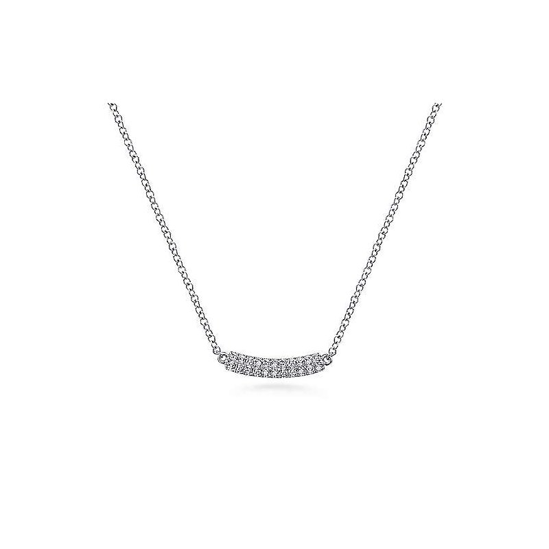 Gabriel & Co 14KW 17.5IN 0.10TDW CURVED PAVE BAR NECKLACE
