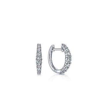 14K White Gold 13mm Classic Diamond Huggies