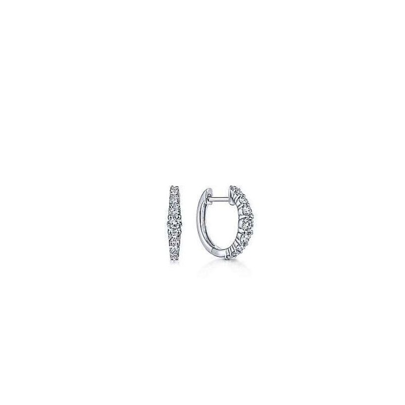 Gabriel & Co 14K White Gold 13mm Classic Diamond Huggies