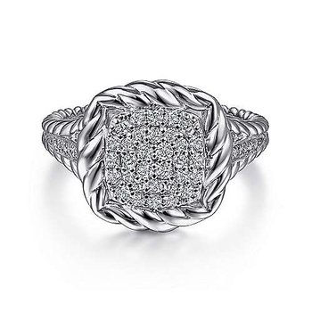 SS WHITE SAPPHIRE PAVE ROPE FRAME RING