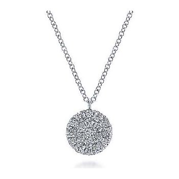 14KW 17.5IN 0.46TDW ROUND DISC PENDANT NECKLACE