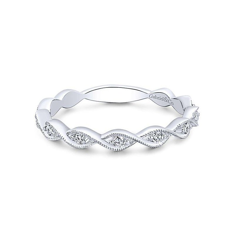 Gabriel & Co 14KW SZ 6.5 0.14TDW TWISTED STACKABLE RING