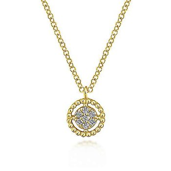 14KY 17.5IN 0.05TDW BEADED ROUND FLOATING PENDANT NECKLACE