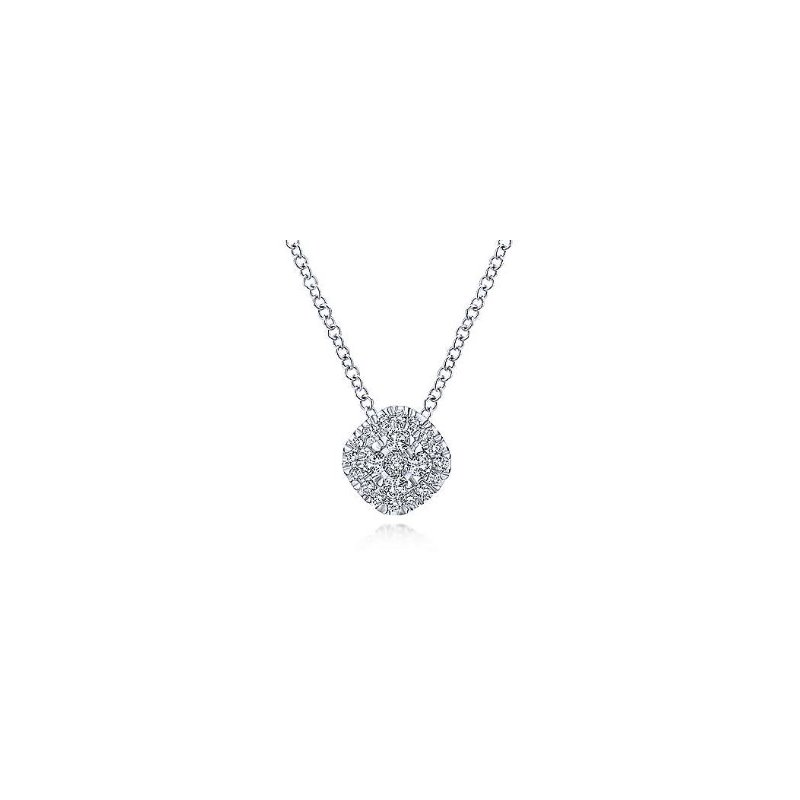 Gabriel & Co 14KW 18IN 0.21TDW PAVE CUSHION PENDANT NECKLACE