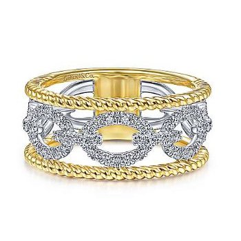 14KTT 0.45TDW LINK & TWISTED ROPE RING