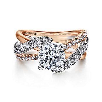 14K White-Rose Gold Round Free Form Diamond Engagement Ring