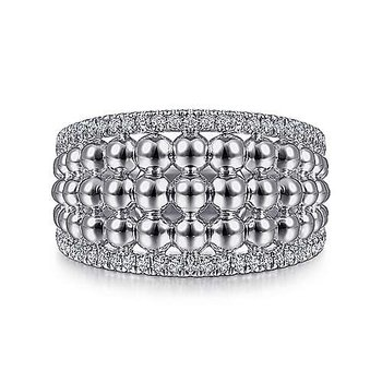 SS 0.30TW WHITE SAPPHIRE WIDE BUJUKAN RING