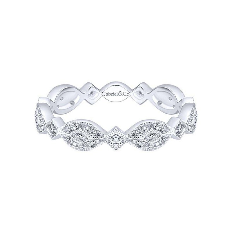 Gabriel & Co 14KW SZ 6.5 0.16TDW MARQUISE STATION CLUSTER STACKABLE RING