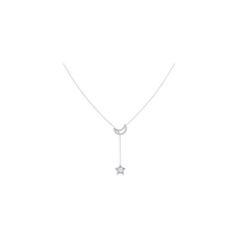 LUV MY JEWELRY SS 18IN 0.09TDW SHOOTING STAR NECKLACE