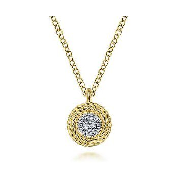 14KY 17.5IN 0.04TDW PAVE CLUSTER TWISTED ROPE FRAME PENDANT NECKLACE