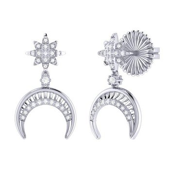 SS 0.15TDW NORTH STAR MOON CRESCENT EARRINGS