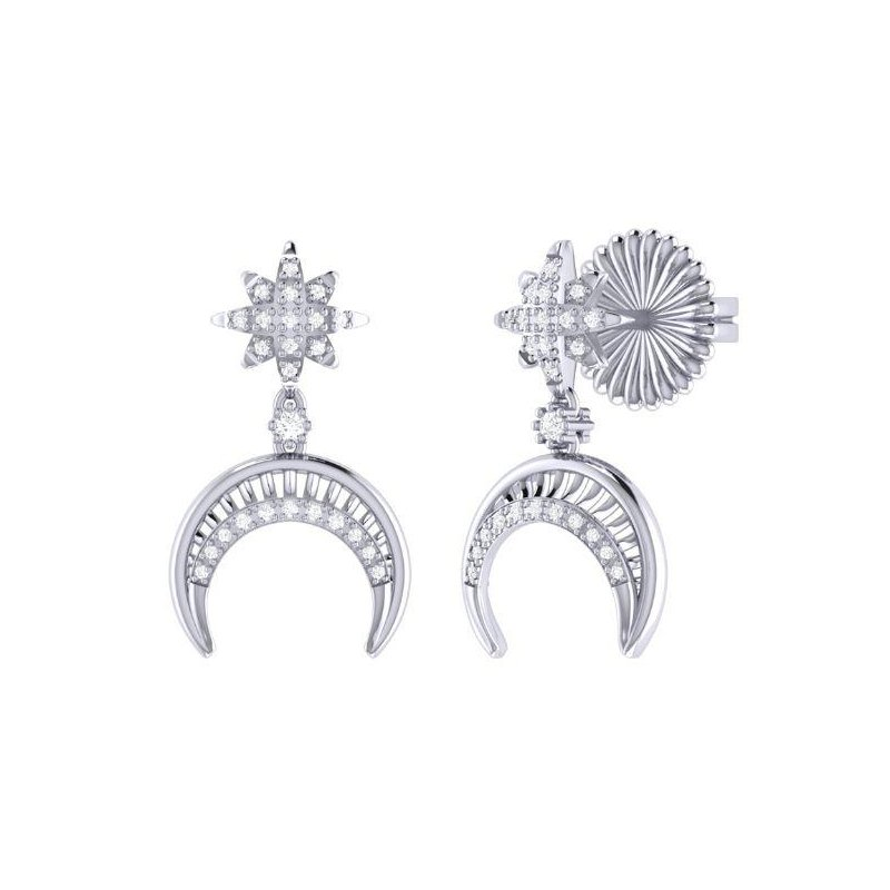 LUV MY JEWELRY SS 0.15TDW NORTH STAR MOON CRESCENT EARRINGS