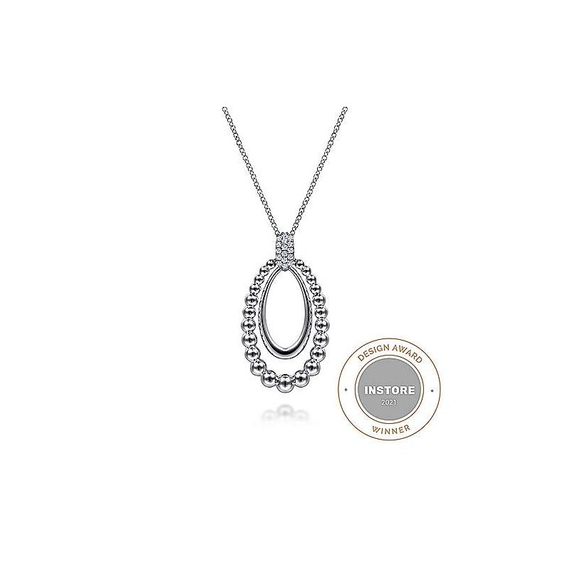 Gabriel & Co SS 17.5IN WHITE SAPPHIRE BUJUKAN PENDANT NECKLACE