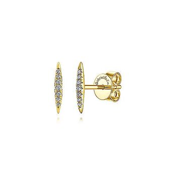 14KY 0.07TDW PAVE SPIKED STUD EARRINGS