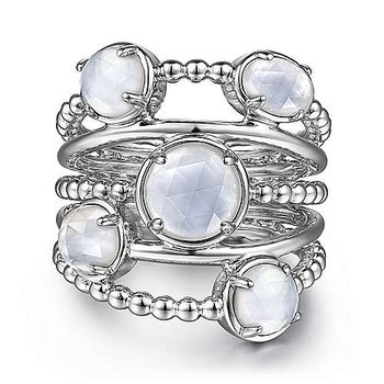 SS ROCK CRYSTAL & WHITE MOP STATMENT BUBBLE RING
