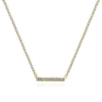 14KY 17.5IN 0.06TDW PETITE PAVE BAR NECKLACE