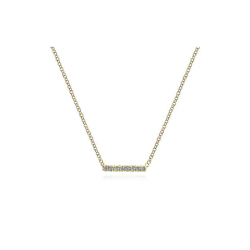 Gabriel & Co 14KY 17.5IN 0.06TDW PETITE PAVE BAR NECKLACE