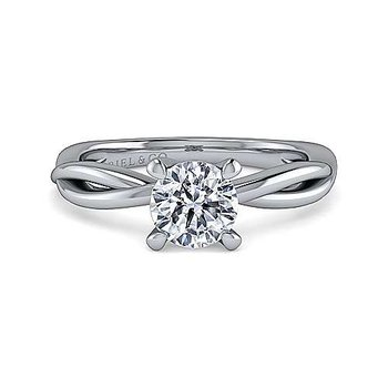 14K White Gold Round Engagement Ring