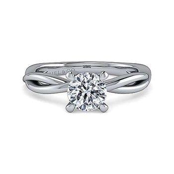14K White Gold Round Engagement Ring