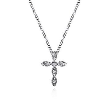 14KW 16IN 0.09TDW MARQUISE SHAPED CROSS NECKLACE