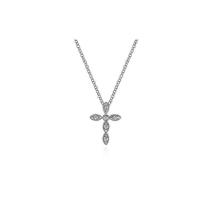 Gabriel & Co 14KW 16IN 0.09TDW MARQUISE SHAPED CROSS NECKLACE