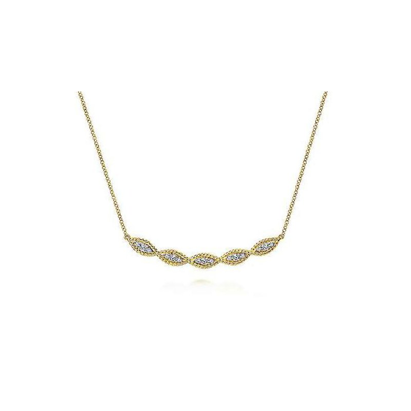 Gabriel & Co 14KY 17.5IN 0.30TDW TWISTED ROPE CURVED BAR NECKLACE