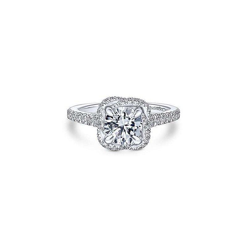 Gabriel & Co 14K White Gold Cushion Halo Round Diamond Engagement Ring