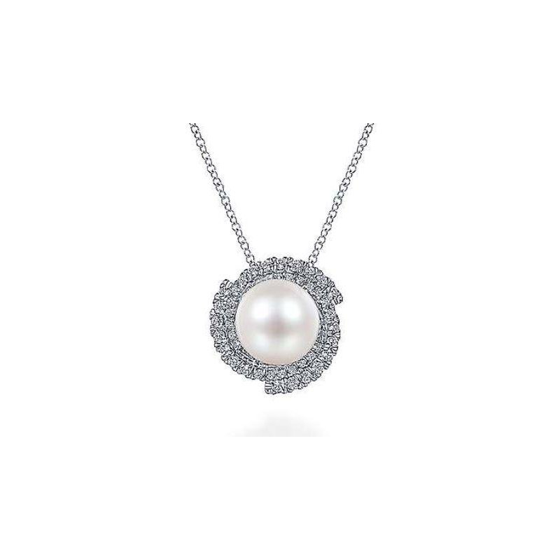 Gabriel & Co 14KW 17.5IN 0.42TDW CULTURED PEARL SWIRLING HALO NECKLACE