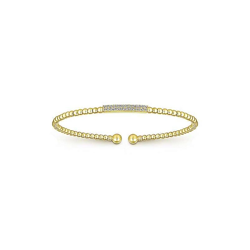 Gabriel & Co 14KY 6IN 0.13TDW BEADED BANGLE