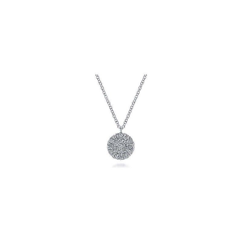 Gabriel & Co 14KW 17.5IN 0.47TDW ROUND DISC PENDANT NECKLACE