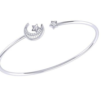SS 0.03TDW STARKISSED CRESCENT FLEX CUFF/BANGLE
