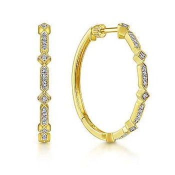 14KY 0.21TDW 30MM VINTAGE INSPIRED CLASSIC HOOP EARRINGS