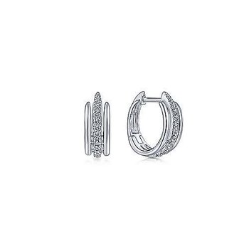14KW 0.19TDW 10MM LAYERED HUGGIE HOOP EARRINGS