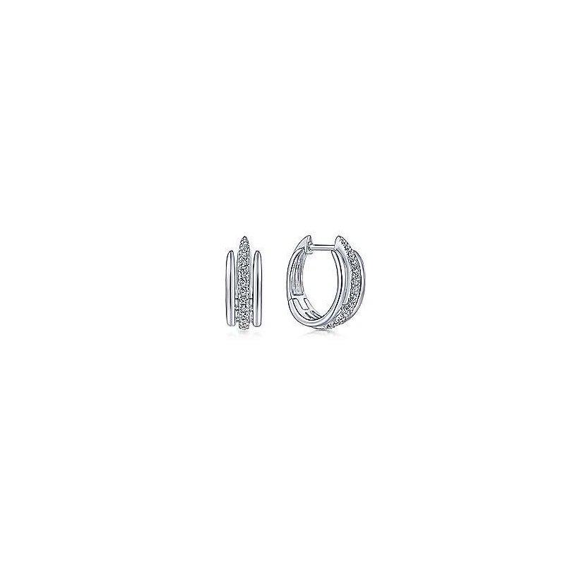 Gabriel & Co 14KW 0.19TDW 10MM LAYERED HUGGIE HOOP EARRINGS