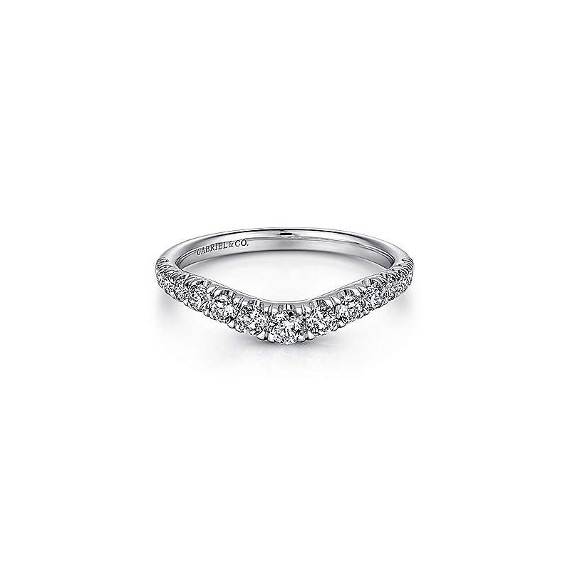 Gabriel & Co 14KW 0.51TDW FRENCH PAVE SET CURVED WEDDING BAND