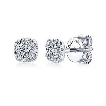 14KW 0.28TDW CUSHION HALO STUD EARRINGS