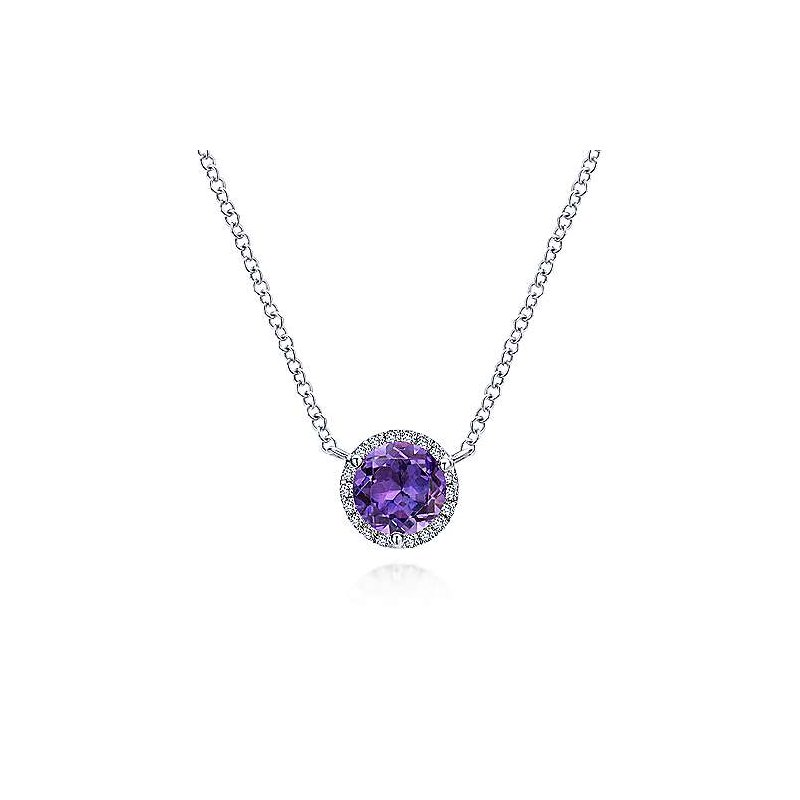 Gabriel & Co 14K White Gold Round Amethyst and Diamond Halo Pendant Necklace
