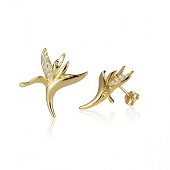 Alamea 14k Yellow Gold Diamond Bird of Paradise Earrings