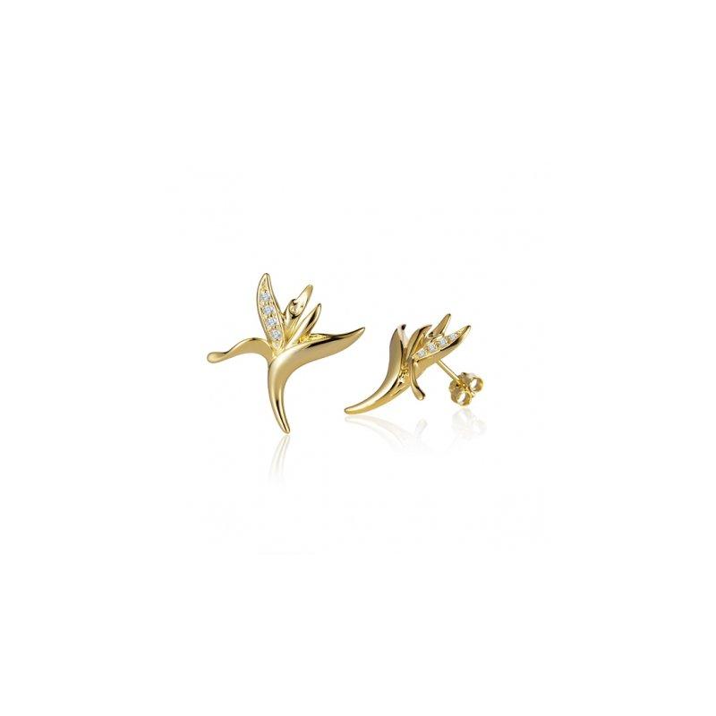 Sealife Jewelry Alamea 14k Yellow Gold Diamond Bird of Paradise Earrings