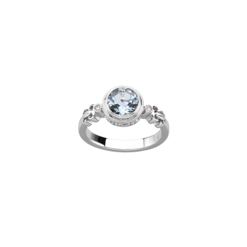 Signature Collection Genuine Aquamarine & Diamond Ring