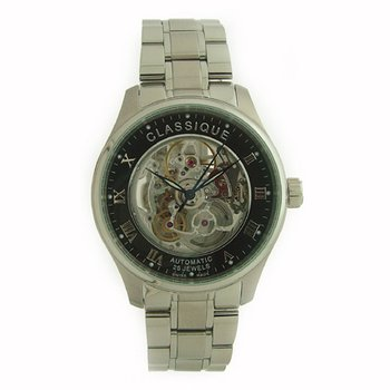 Classique Gents Stainless Steel Full Skeleton Swiss Made Automatic Watch - #9000W Black