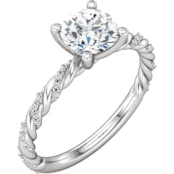 14k White Gold Twist Band Diamond Engagement Ring