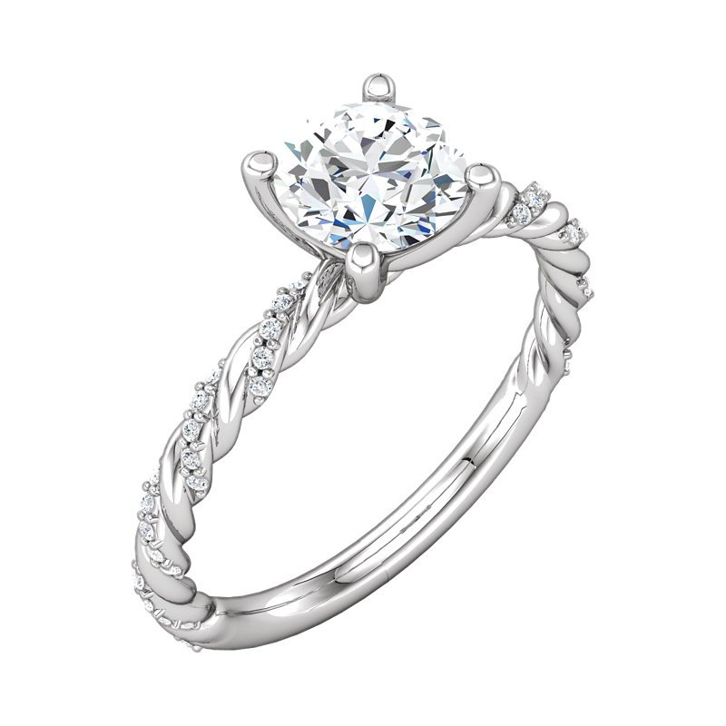 Signature Collection 14k White Gold Twist Band Diamond Engagement Ring