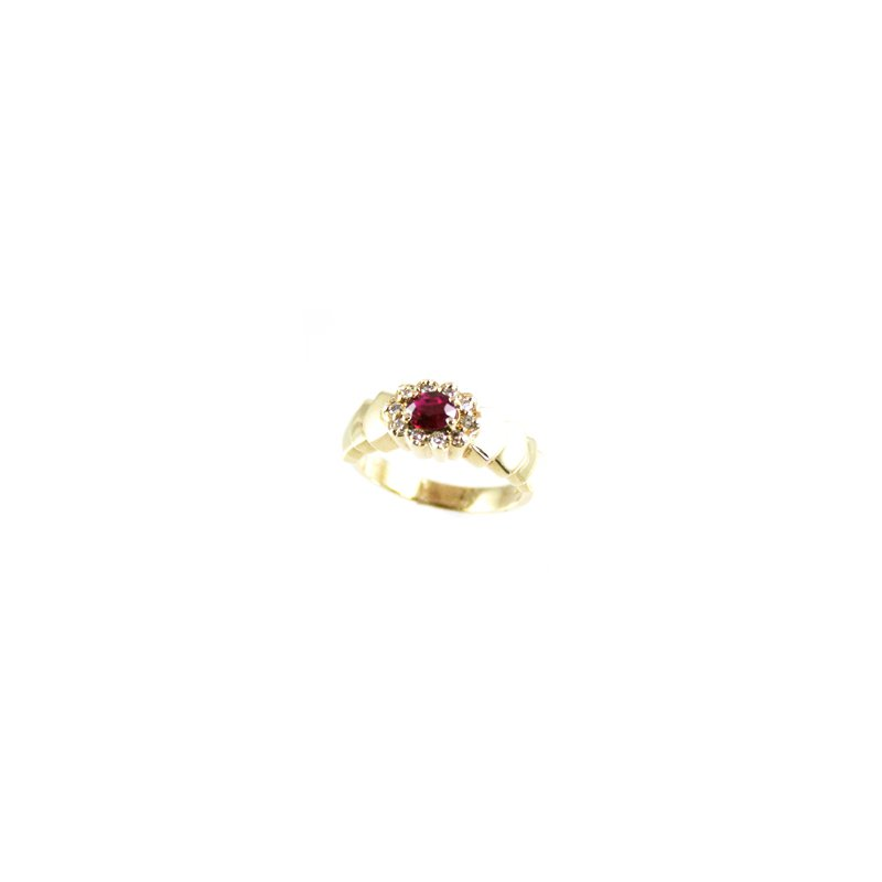 Signature Collection Genuine Ruby and Diamond Ring in 14k Yellow Gold - 13652