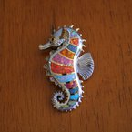 Kovel Sealife Kovel Sea Life Collection Large Seahorse in Sterling Silver Multi color Lab Opal