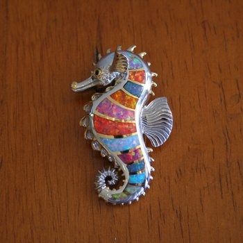 Kovel Sea Life Collection Large Seahorse in Sterling Silver Multi color Lab Opal