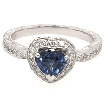 14k White Gold Heart Shaped Sapphire and Diamond Ring