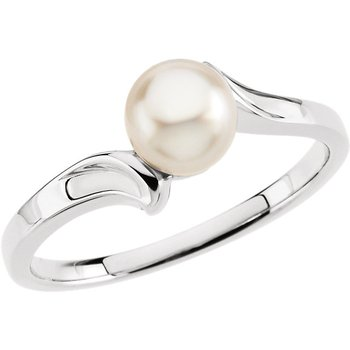 From the Pearl Collection 14k White Gold 5.5mm Akoya Pearl Bypass Ring