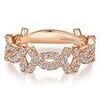 Gabriel NY Gabriel NY 14k Rose Gold Criss Cross Pave' Diamond Stackable Ring - Style #LR51260K45JJ