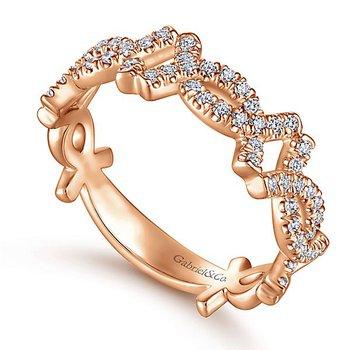 Gabriel NY 14k Rose Gold Criss Cross Pave' Diamond Stackable Ring - Style #LR51260K45JJ
